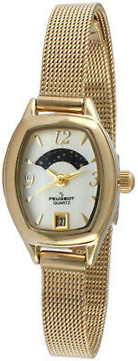 f121996c025 Peugeot Women s 14K Gold Plated Slim Mesh Decorative Sun Moon Phase Face  Dress