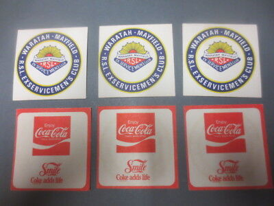 6 x  COKE COLA / WARRATAH-MAYFIELD RSL special issue 1980,s Coasters