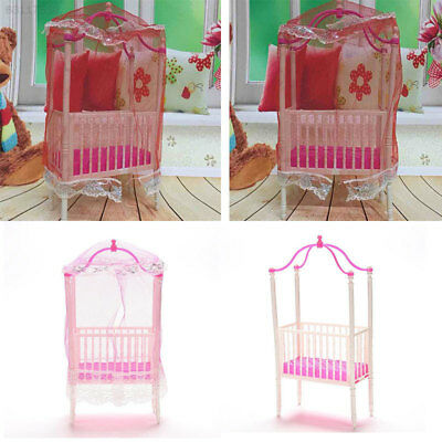 8E84 Small Sweet Baby Crib For Barbie Girls Doll Doll's Bed Doll Accessories