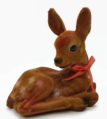 Vintage Felt Flocked Deer Doe Fawn Laying Baby Reindeer Holiday Decor Hong Kong