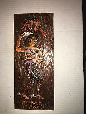 """Vintage Embossed & Painted Copper Picture Gaucho from Chile 12.5"""" x 5.25"""""""