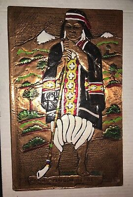 """Vintage Embossed Painted 9"""" x 14"""" Picture of Temuco Mapuche Chile"""