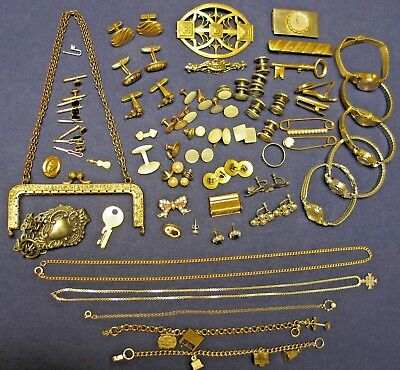 Estate Sale Lot Of mostly vintage Jewelry some sterling & GF cufflinks watches