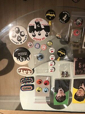 36 Beatles Pins ,  Stamps , Postcards And Mirror