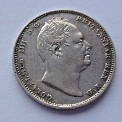 1837 SIXPENCE - WILLIAM IV BRITISH SILVER COIN - aEF