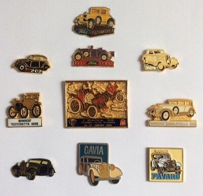 Lot 10 Pin's Vintage Retro  Cars Voitures Anciennes Renault Ford Peugeot Fiat