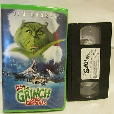 Dr. Suess How The Grinch Stole Christmas Vhs Jim Carrey Clam Shell