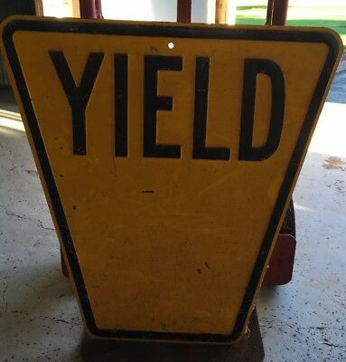 Antique Yield Sign Nice Heavy Embossed Sign