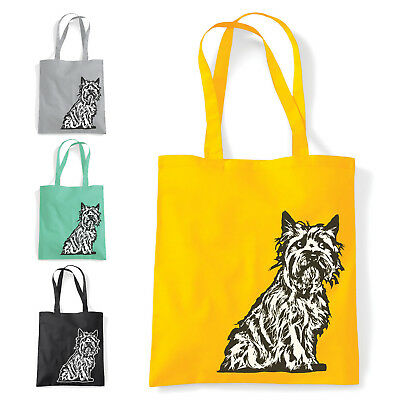 Cairn Terrier Print Bag   Shopping gym tote   4 colours   Gift for dog owners