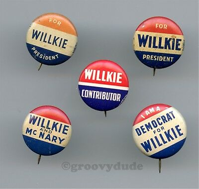 5 Wendell Willkie President Contributor Democrat Campaign Pin Pinback Button Lot