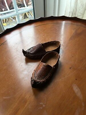 Vintage Tibetian Childs Woven Leather Shoes