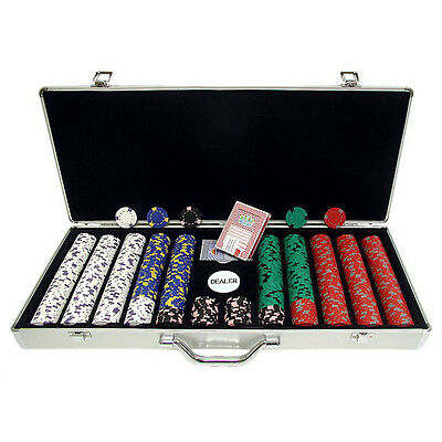 650 Piece Pro Clay Poker Chips Aluminum Carry Case Set Home Card Deck Games