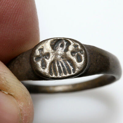 PERFECT - Clean Byzantine Bronze Seal Ring Depicting EMPEROR Bust and 2 crosses