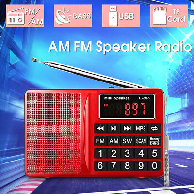 Portable AM FM SW Radio Receiver Digital Pocket Speaker MP3 Player Rechargeable
