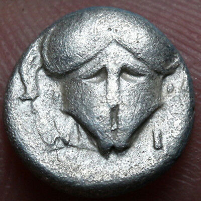 Ancient Greek Coin Thrace Mesembria, SILVER Diobol. Crested Corinthian helmet