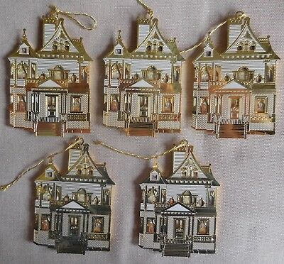 Bing & Grondahl Doll Houses Of America Christmas Ornaments 24K Gold Layered (5)