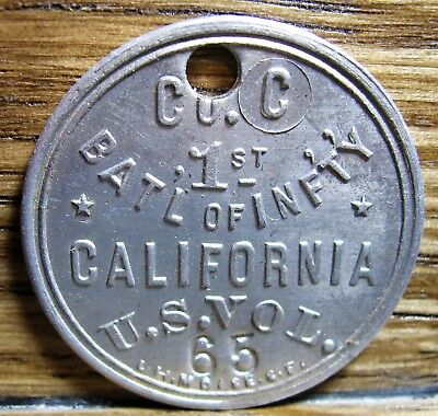 Spanish American War dog tag from Co. C, 1st Battalion, California Vol. Inf.