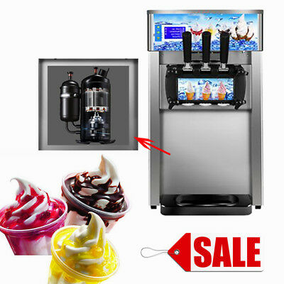 Soft Ice Cream Maker Frozen Yogurt Making Machine 3-flavor 18L/H Commercial UPS