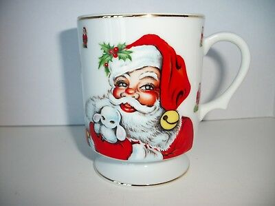 Vintage Lefton Christmas Santa Claus Pedestal or Footed Mug 1984~Hand Painted