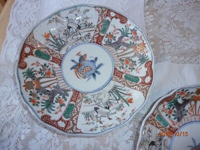 "2 Antique Vintage Japanese Imari Bowls Crane 8"" Blue Rings Scalloped Plate"