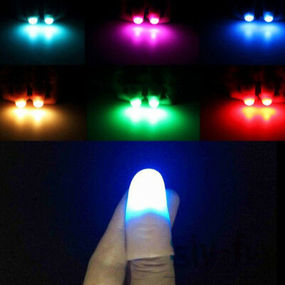 2× Magic Finger Lights Bright Light Up Thumbs Trick Appearing Light Close Up Hot