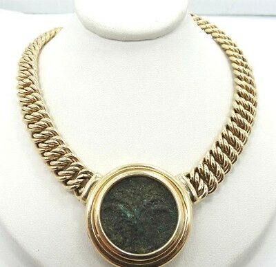 """Solid 14K Y Gold Heavy Tight Curb Link Ancient Roman Coin 17.5"""" Necklace A245"""