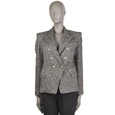 55196 auth BALMAIN grey HERRINGBONE cotton Double-Breasted Blazer Jacket 40 M