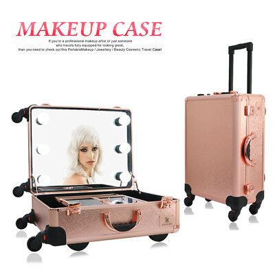 2 in 1 Rolling Cosmetic Makeup Trolley Train Case Box Organizer Christmas Gift