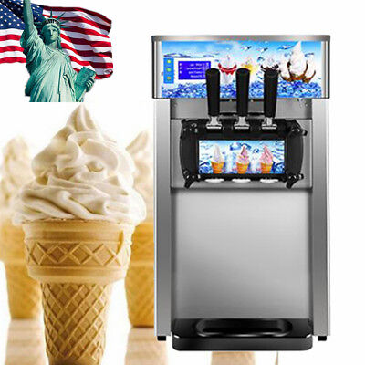 Durable Soft Serve Ice Cream Machine Frozen Yogurt 3 Flavor Taste Dessert Shop