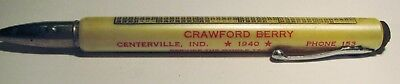 "Vintage Advertising ""Crawford Berry"" 1940 Calendar Centerville Ind.BULLET Pencil"