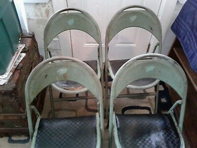 Folding Chairs Set 4 Metal  cottage Antique Waiting Room Theater  Seats feb 2 26