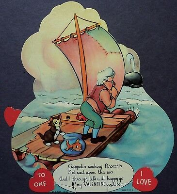 Walt Disney Mechanical Valentine Card-Geppetto Seeks Pinocchio,Sail Raft,1930's