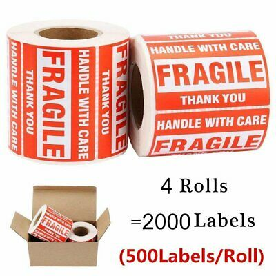 4 Rolls Fragile Stickers 2x3 HANDLE WITH CARE THANK YOU Shipping Warning Labels
