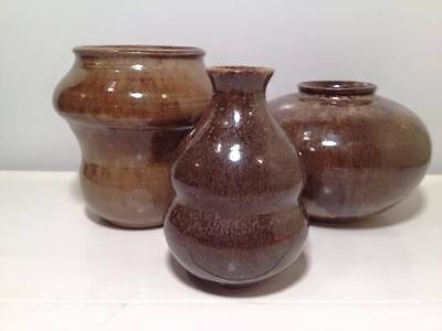 Set of 3 signed  modern studio pottery vases