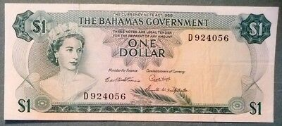 BAHAMAS GOVERNMENT  1 DOLLAR NOTE FROM 1965, P 18 b , 3 SIGNATURES, QUEEN