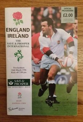 England v Ireland Five 5 nations Rugby Union Programme 1996