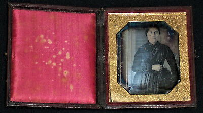 Vintage Mid-1800's 1/6th Plate Daguerreotype Standing Woman/Full Wood Case