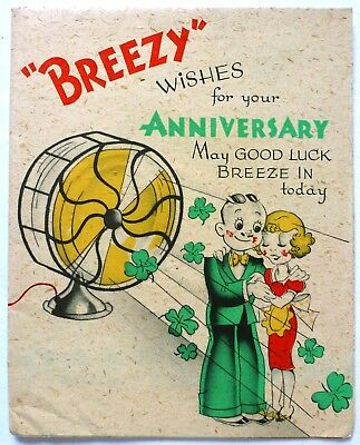 Vintage Anniversary Card,Couple,Fan,Air Cond-Cat-Nice Graphics,Fold Out-Art Deco