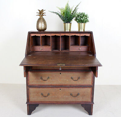Antique Victorian Bureau Inalid Mahogany Writing Desk Chest