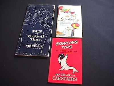 Seagram's & Schenley Receipe & Party Game Booklets & Carstairs Bowling Tips