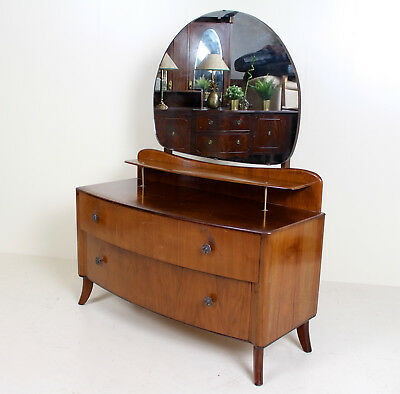 Art Deco Walnut Dressing Table Vintage Mirror Chest of Drawers