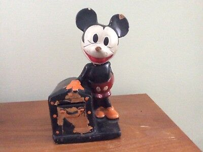 Vintage 1930's Mickey Mouse Coin Bank