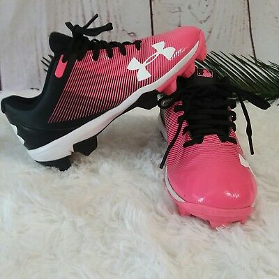 Under Armour Size 2Y Girls Black & Pink Baseball Softball Cleats Spikes Shoes
