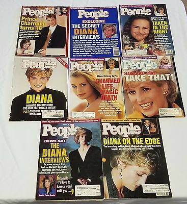 Vintage People Magazines With Princess Diana On Cover Lot of 8 - 1990's