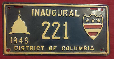 1949 District Of Columbia 221 Inaugural License Plate  Low Number!!
