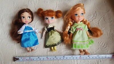 Lot of 3 DISNEY Princess small Dolls pre-owned nice condition kids toys clean