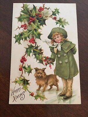 Antique Christmas Postcard-Girl in Green Coat & Boots With Dog - Holly - 1910