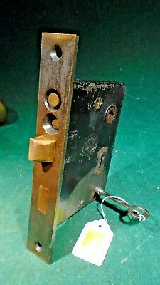 VINTAGE READING HARDWARE DOUBLE KEY ENTRY MORTISE LOCK w/KEY 6 7/8 (11140)