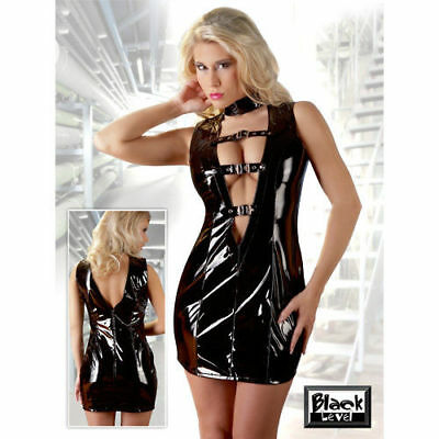 MINI ABITO LACCATO NERO CON FIBIE Black Level Fetish Erotic tg M
