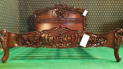 6' UK Super King size Dark Mahogany OR Shadow effect french oriental Rococo Bed